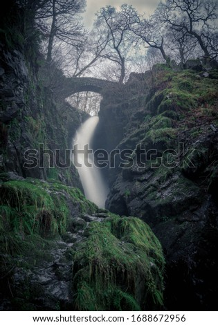 Aira Force waterfall in Matterdale, Penrith - England, United Kingdom stock photo