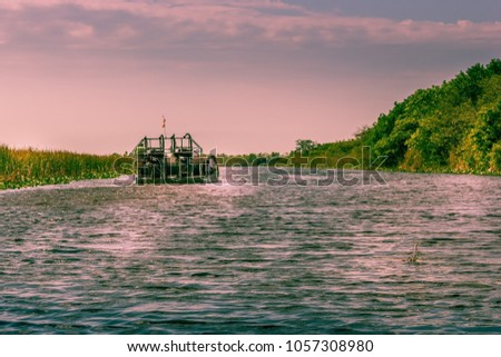 Stock Photo Airboat Everglades Florida