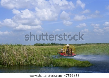 Stock Photo Airboat in Everglades Florida Big Cypress National Preserve