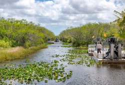 Airboats tours in Everglades National Park, Florida.