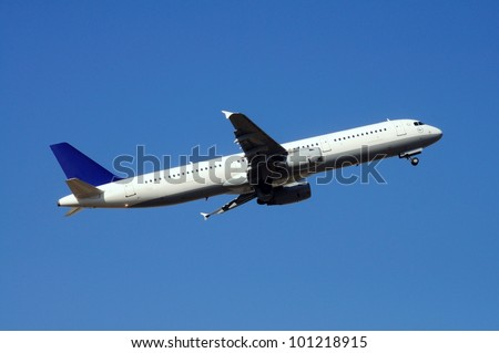 Airbus A321 aeroplane taking off.