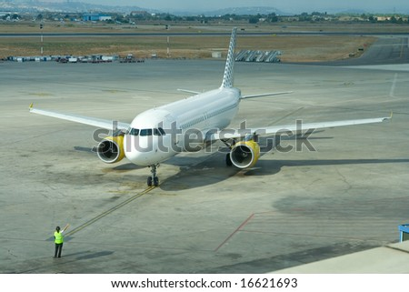 Airbus A320 getting ready for taxi