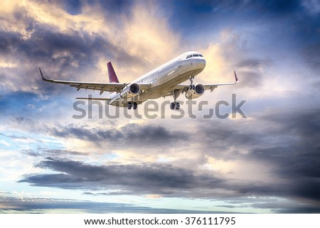 Airbus A-320 with beautiful sky.