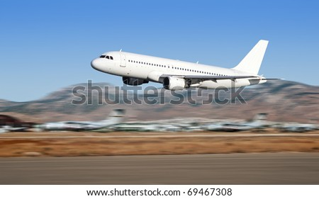 Airbus plane taking off on Athens airport.