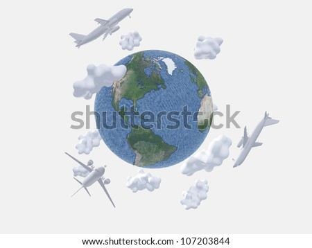 Aircraft above earth