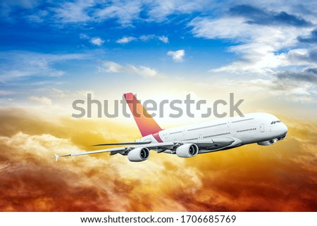 Aircraft against sky background  , big stock photo
