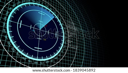 Aircraft and ship scanner by radar. Radar scanner search for enemy aircraft and ship. 3d view of radar scan over 4k resolution. Сток-фото ©