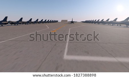 Aircraft carrier and defense industry. 3d illustration stock photo