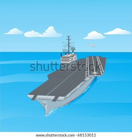 Aircraft carrier floating on waves with plane flying up from it a  illustration