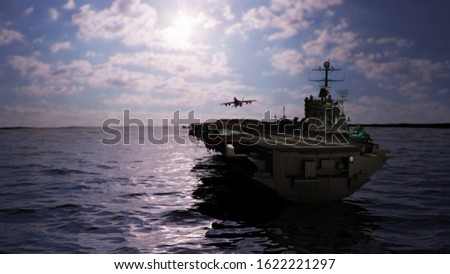 Aircraft carrier military ship in ocean 3d rendering stock photo