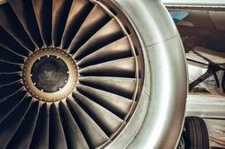 Aircraft engine close-up. Color tone tuned photo