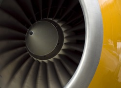 aircraft engine closeup view for Boeing 757 engine flaps