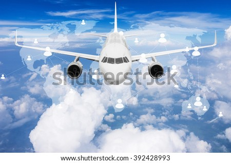 Aircraft flying high above the clouds with  world map connections, Elements of this image furnished by NASA. #392428993