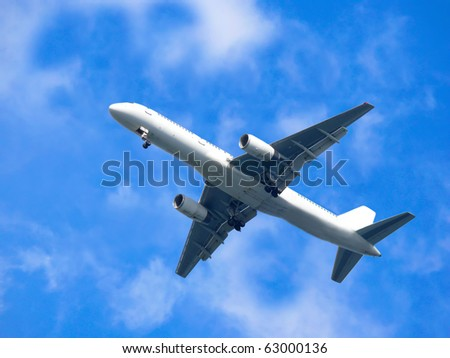 Aircraft flying in blue cloudy sky