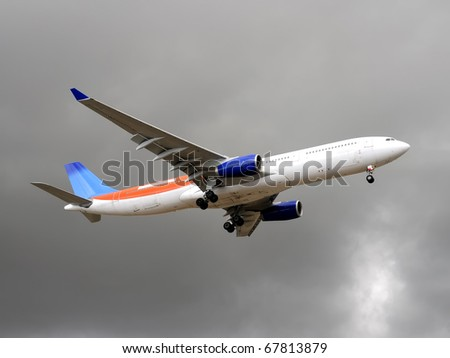 Aircraft flying in rainy day