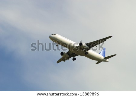 aircraft idushiy for the landing in the airport