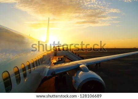 aircraft in airport at sunset #128106689