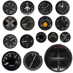 Aircraft instruments isolated on white background, set