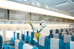 Aircraft interior cabin deep cleaning for Coronavirus (Covid-19) disease prevention.