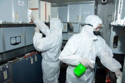 Aircraft interior cabin deep cleaning for Covid-19 disease prevention.