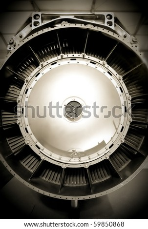 aircraft jet engine abstract with a sepia tint