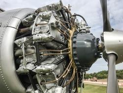 Aircraft maintenance, dismantled plane engine