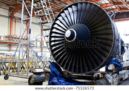Aircraft maintenance, dismantled plane engine #75526573