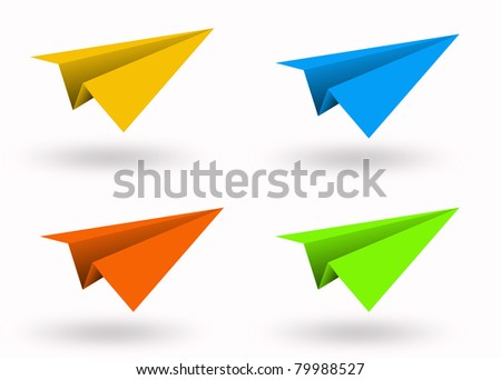 Aircraft paper colorful isolated blue green yellow orange