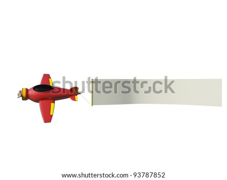 Aircraft pulling advertisement banner  on the white background