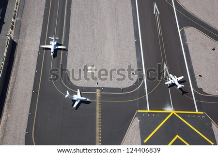 Aircraft ready for take off as viewed from above