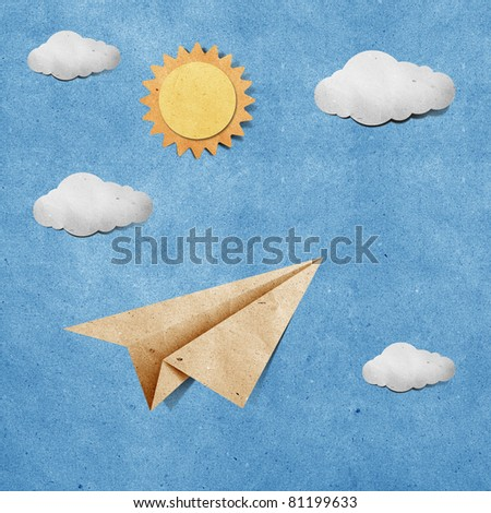 aircraft recycled paper on grunge blue sky paper background