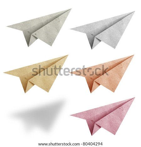 aircraft  recycled paper on white background