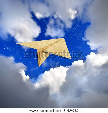 aircraft  recycled paper Travel  on view photo background - stock photo