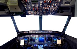 Aircraft simulator Flight Deck cockpit hud Radar screen. Window Empty blank isolated white background with copy space and display montage for product.