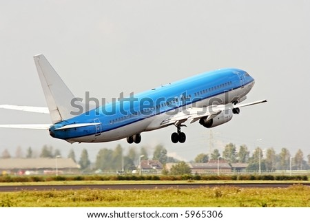 Aircraft taking off from Schiphol airport in the Netherlands