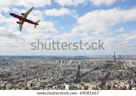 Aircraft taking off over Paris