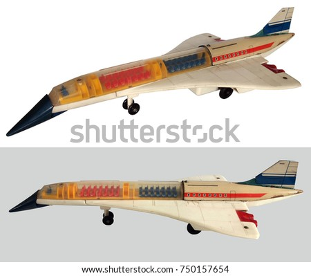 Aircraft tin toy / Concord battery operated toy : Isolated white