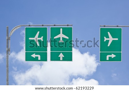 aircraft traffic sign on blue sky