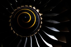 Aircraft turbojet engine in the dark close up, airfiel engineering background