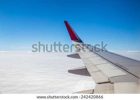 Aircraft wing on the clouds,flying background #242420866
