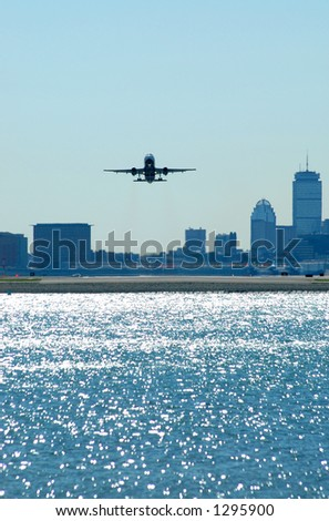 aircraft with city background