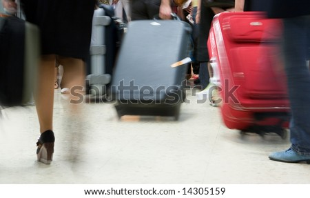 Airline passengers in an airport