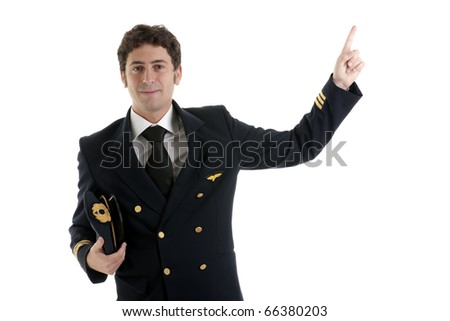 Airline Pilot/Captain pointing at copy-space