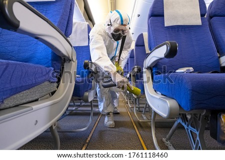 Airline plane deep cleaning  for coronavirus (Covid-19) prevention. Сток-фото ©