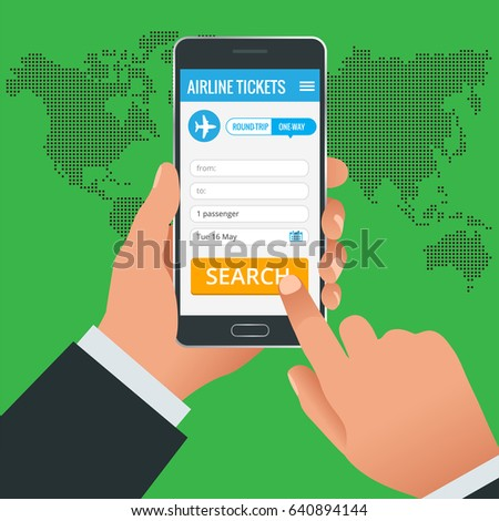 Airline tickets booking online app phone concept. Book your ticket online and pay the amount at anywhere in the world. Illustration.
