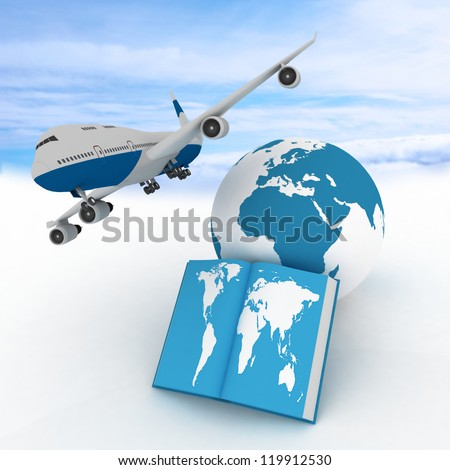 Airliner and book on sky background. Conception of air flights all over the world