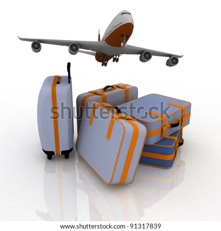 airliner and suitcases on white background
