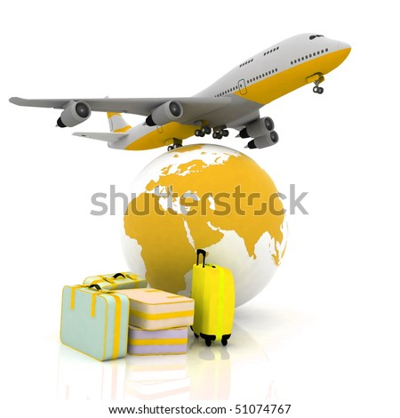 airliner and suitcases with a globe in the background