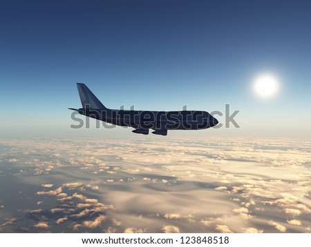 Airliner Computer generated 3D illustration - stock photo