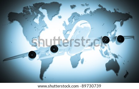 airliner in the World map background